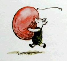 Piglet runs with a huge balloon by Ernest Howard Shepard
