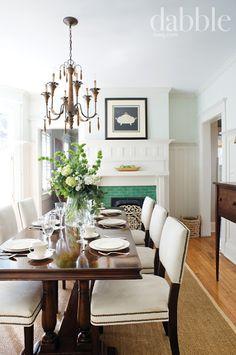 Love the green tile on the fireplace  {Photography by: Simon Burn, Home Tour - Lucinda Robinson (via Dabble Magazine)}