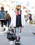Colorful Cat Tights, Lost Mannequin Winged Backpack & One Spo Coat in Harajuku