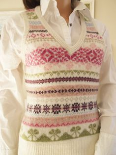 Cream and pink sweater top Fairisle tank top Vintage by AndiJLucas