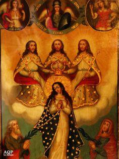 Cuadro de la Inmaculada Concepcion, escuela cusqueña siglo XVIII