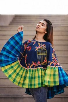 Blue Embroidery Work And Chex Print Khadi Poncho Top Cataloge Whatsapp :- 9377709531 Western Tops, Western Wear, Casual Dresses, Fashion Dresses, Girls Dresses, Crop Top Outfits, Trendy Outfits, Fancy Tops, Kurta Designs Women
