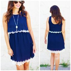"""Navy scalloped layered dress with lace detail  ORIGINAL Price: $40.00, Free Shipping SALE PRICE: $20.00 ALL SALES FINAL - NO RETURNS!  Options: 4 small, 1 medium, 3 large Model is wearing small. Made from 65% cotton, 35% polyester. Fits true to size, fully lined.  small - 35"""" bust, 35.5"""" long  medium - 37"""" bust, 36"""" long  large - 39"""" bust, 36.5"""" long   Comment """"Sold and your size"""" to purchase.  Please spell out your size exactly as described above to receive an invoice! If you haven't ..."""