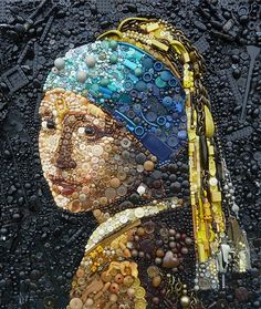 Artist: Jane Perkins, recycled buttons, Legos {contemporary female head pearl earring woman face portrait mixed media #noveltechnique} bluebowerbird.co.uk