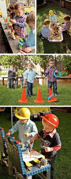Easy peasy party games and ideas for keeping those little builders entertained at the birthday party. 1st Birthday Games, Third Birthday, Birthday Crafts, 3rd Birthday Parties, Boy Birthday, Party Crafts, 1st Birthday Ideas For Boys, Auto Party, Digger Birthday