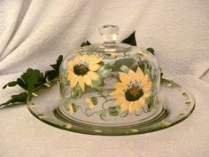 Sunflowers hand painted on glass cheese dome with by DeannaBakale, $20.00