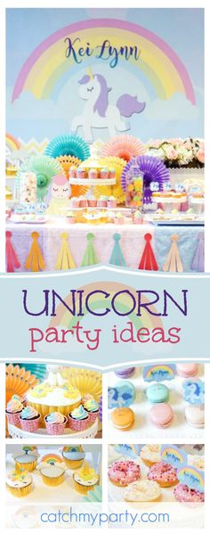 Take a look at this gorgeous Rainbows and Unicorn Baptism celebration. The cupcakes are adorable!! See more party ideas and share yours at CatchMyParty.com