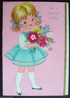 #D778- Vintage Birthday Greeting Card Sweet Girl & Flowers Gold Embossed Accents | eBay