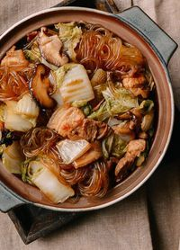 ZHU ROU DUN FEN TIAO ~~~ this dish of braised cellophane noodles aka chinese vermicelli aka bean threads, aka bean thread noodles aka crystal noodles aka glass noodles (made from mung beans, potatoes, cassava root, or canna) with pork and napa cabbage is from north china. varieties abound from one mother's kitchen to another... sour cabbage instead of fresh, spicy flavor profile, saucy, soupy, and so on. [China, Regional North] [thewoksoflife]