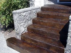 CMDT Systems installs acid stain stamped concrete, decorative acid stain concrete, concrete toppings , acid stain and flexcment in Vancouver, Lower Mainland. Concrete Front Steps, Concrete Porch, Concrete Stairs, Concrete Garden, Cement Patio, Front Porch Stairs, Porch Steps, Landscape Bricks, Landscape Steps