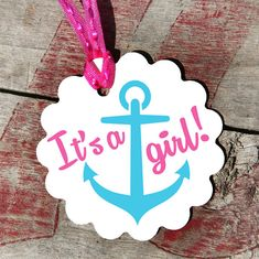 Its A Girl Anchor Tags, Perfect for Baby Showers, Anchors, Adorable Favors For Baby Shower, Hot Pink, Aqua