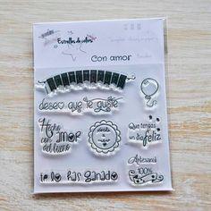 Colección de sellos acrílicos CON AMOR para Scrapbook y packaging (castellano) de Estrellesdecolors en Etsy