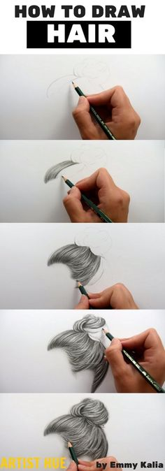 How to Draw Hair Properly is part of drawings Hair Male Curly - How to draw hair how to draw hair step by step how to draw hair realistic hair art how to draw artisthue hair howtodrawhair Pencil Art Drawings, Realistic Drawings, Art Drawings Sketches, Easy Drawings, How To Draw Realistic, Drawing Faces, Drawings Of Hair, Pencil Sketches Easy, Drawing Girls