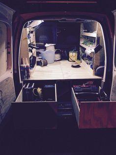 Vw caddy racking van racking van drawer Van Storage, Diy Garage Storage, Tool Storage, Storage Ideas, Van Shelving, Shelving Ideas, Van Organization, Caddy Van, Van Racking