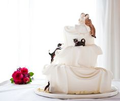 love this topsy turvy cake with dog and cat
