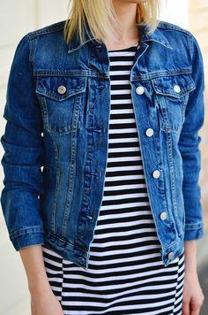 stripe dress & denim jacket