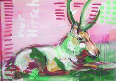 """Original Acrylmalerei auf Leinwand, Keilrahmen    Das hier angebotene Werk NUR HIRSCH No2 stammt aus der Serie *""""Hirsch in Pink""""*.  Das Gemälde ist..."""