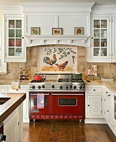 I so miss my rooster painting above my stove. Darcy Manfredi did such a wonderful job.