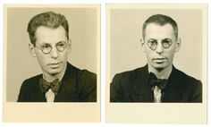 Studio portraits of Joseph Landman taken before and after his incarceration in Dachau on Kristallnacht. 1938.