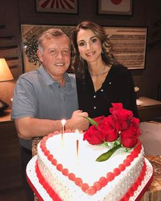 "jordanianroyals:  ""Queen Rania of Jordan posted a photo of her Valentine's Day celebration with husband, King Abdullah II of Jordan. They shared a heart-shaped cake adorned with red roses. The royal couple has been happily married for almost 24 years..."