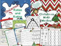 This file contains 24 pages from two separate products that can also be bought individually.  In this Christmas math bundle, you will be getting 4 colorful signs (rates, ratios) and 6 printables.  The following concepts are included:*Rates*Ratios*Area (multiplying decimals)*Equivalent Fractions*Fractions to Percents*Percents to Fractions