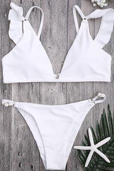 a267c2de4d Floralkini Solid Color Ruffle Trim Bikini Set