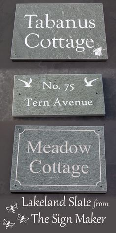 Lakeland slate house signs from The Sign Maker. This slate is much harder than therefore harder wearing than our normal grey slate. It is from a tiny quarry in the Lake District. They are very attractive signs. Twd Memes, Grey Slate, Slate Signs, House Signs, Maker Shop, Sign Maker, Lake District, Father And Son, Just The Way