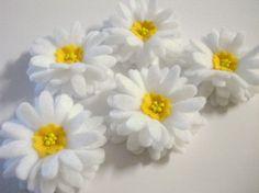 Set of 5pcs handmade felt Daisy - white2 (DA)