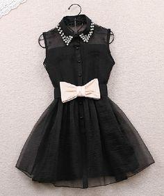 2014 Summer Fashion Women's Cute Sleeveless Turn-Down Collar Beading Dress! I love it!!
