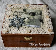 Christmas Wishes Altered Box with oodles of embellishments