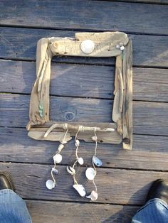 Driftwood, shell and sea glass mirror