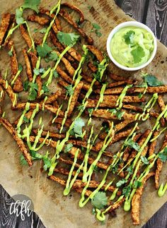 Vegan Oven-Baked Chipotle Jicama Fries with Creamy Cilantro Lime Sauce...a healthier version of fries and they're vegan, gluten-free and dairy-free | The Healthy Family and Home