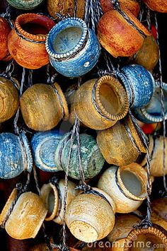 Colorful hanging mexican pottery is available from the small shops that line the streets leading off of 5th Avenue.