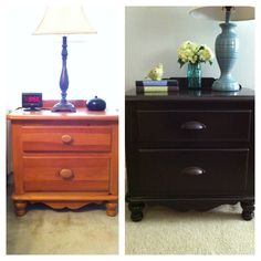 DIY: General Finishes Java Gel Stain on maple nightstand with new hardware.