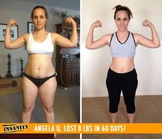 "Angela Q. lost 8 lbs in 60 days of Insanity! Congrats girl! Way to #DIGDEEP!!    ""I have more energy, more confidence and more self-esteem than when I started. [Shaun T] is very motivating and his passion shows. He's my favorite!"""