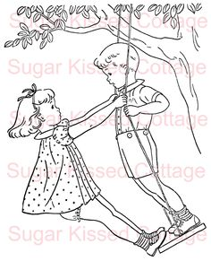 Digital Stamp - Playing on the Swings. $3.00, via Etsy.