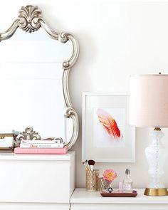 Metallic & Pink. Great bathroom color scheme too.