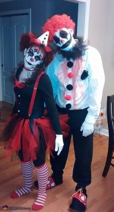 Brittany: My boyfriend and I as evil clowns. Outfits were both homemade. I made my hat out of card stock, tulle, and Pom poms. Bow tie is made of felt and...