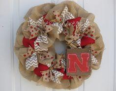 Nebraska Huskers Burlap Wreath