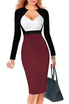 Sexy Color Block Long Sleeve Bodycon Midi Dress For Women