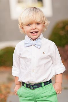 Polo, pastels & a seersucker bow tie... Total prep! Totally adorable!
