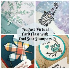 August 2020 Virtual Online Stampin' Up! Card Class by Owl Star Stampers Virtual Card, Fall Cards, Halloween Cards, Stampin Up, Owl, Banner, Crafty, Stars, Banner Stands