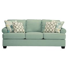 Complete your living room or den ensemble in style with this seafoam-hued sleeper sofa, featuring a pull-out queen bed that's perfect for hosting out-of-t...