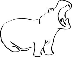 hippo line drawing - Google Search