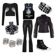 goth rock outfit by shilla-negative on Polyvore featuring moda, UNIF, rag & bone, Kurt Geiger, Mia Sarine, Waterford and MANGO