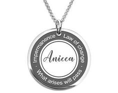 Buddhist Necklace - Anicha - Impermanence Necklace Stainless Steel or 18 K Gold Plated Laser Engraved Round Pendant Clock Necklace, Dog Tag Necklace, Washer Necklace, Gold Necklace, Prague Astronomical Clock, Round Pendant, Laser Engraving, 18k Gold, Stainless Steel