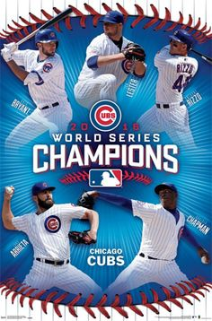 *SHIPS 11/12* Chicago Cubs 2016 World Series CHAMPIONS 5-Player Commemorative Poster