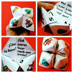 FREE Getting to Know You Back to School Paper Quizzers Cootie Catchers) - This paper quizzer (cootie catcher) is a fun activity for students to get to know each other at the beginning or any time of the year. Spanish Teacher, Spanish Classroom, Teaching Spanish, Bilingual Classroom, Bilingual Education, Classroom Language, Classroom Activities, Fun Activities, Classroom Ideas