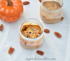 Pumpkin Pie Overnight Oats.  This breakfast is the bomb and so easy too!  Make 5 at a time and have quick breakfasts all week!  Also a video tutorial attached.  Vegan and gluten free.