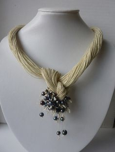 One of a Kind Cream Linen with Pearls Necklace Spring by Cynamonn, $40.00